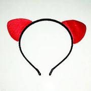 Ободок с ушками (мягкие красные) фото