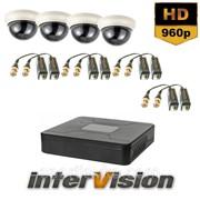 Комплект видеонаблюдения KIT-Dome 481: 4 видеокамеры 1000 TVL + видеорегистратор 300208 фото