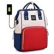 Сумка-рюкзак для мамы с USB/ Красный с белым фото