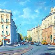 Городской пейзаж маслом, улицы Минска фото