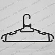 Вешалка плечики для детской одежды пластиковая с перекладиной и крючками 280 мм, черный. В-102-С фото