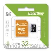 Micro SDHC карта памяти Smartbuy 32GB Class 10 с Orange адаптером SD фото