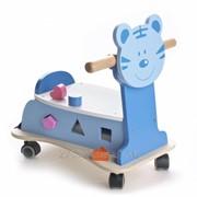 Детская деревянная каталка котенок на веревке IE184 фото