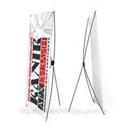 Стенд выставочний мобильный 0,80х1,80 эконом x-banner х-баннер паук фото