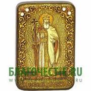 Олд Модерн Владимир, святой равноапостольный великий князь, копия писанной иконы ручной работы под старину Высота иконы 15 см фото