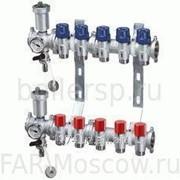 Коллекторный узел фланцевый, с запорными и терморегулирующими вентилями, 8 отводов, с соединениями арт. 3445, отводы М24х19, артикул FK 3465 108 фото
