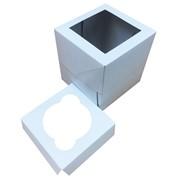 Картонная упаковка для капкейка 1 шт. с прозрачным окном, Размер 100*100*110 мм. фото
