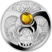 Янтарный скарабей Серебряная монета с янтарной вставкой символом счастья фото