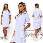 Платье-рубашка женское с воротником поло (3 цвета)- Голубой PY/-126 фото
