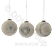 Декор Шар стекл. бел,кремов,серебр. с рисунком 3 в асс фото