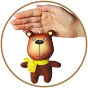 """Антистрессовая игрушка-брелок """"Звери в шарфах. Медведь"""" фото"""