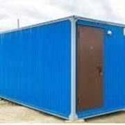 Бытовка С 100/6 вагонка с тамбуром, сейф-дверь, голубая фото