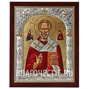 Angelos Николай Чудотворец, греческая серебряная икона 24х29,5 см фото