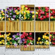 Модульна картина на полотні Квіти в дерев'яному вазонку код КМ100150(132)-055 фото
