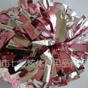 Помпоны для черлидинга. Серебро-розовый фото