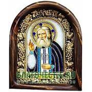 Золотошвейные мастерские, Дивеево Серафим Саровский, святой преподобный, дивеевская икона ручной работы из полудрагоценных камней и бисера Высота фото