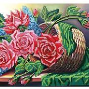 Схема для частичной вышивки бисером Букет роз фото