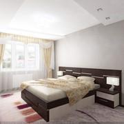 Кровать двухспальная с изголовьем и тумьочками фото