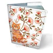Обложка кожаная для паспорта Кот в цветах фото