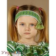 Вышитая повязка с зеленой вышивкой (pv-01-15) фото