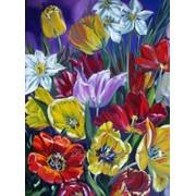 """Картина маслом """"Яркие тюльпаны"""" фото"""