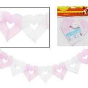 Гирлянда Сердечки 18*17см 4м бело-розовая G20052 фото
