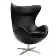 Мягкое кресло Эгг (Egg), кожзам, цвет черный фото