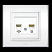Розетка ZENA двойная компьютерная+телефон с рамкой белый (два гнезда кат.6Е) 500-010200-249 фото
