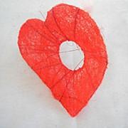Каркас для букета сердце сизаль+ротанг 25см фото