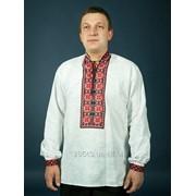Мужская вышиванка с орнаментом чёрно-красного цвета из льна в кировоградском стиле (chsv-04-02) фото