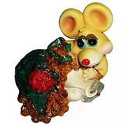 Копилка Мышка с мешком монет 10см 1169 фото