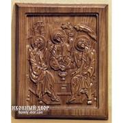 Икона Прямоугольной Формы Из Натурального Дерева Святая Троица Под Деревянный Интерьер Код товара: ОДВ-10 фото