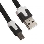 USB кабель «LP» Micro USB плоский узкий (черный/коробка) фото