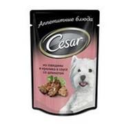 Корм для собак CESAR из говядины и кролика в соусе со шпинатом, 100г фото