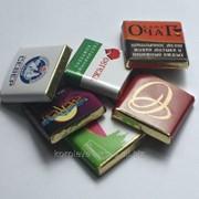 Сладости под заказ с логотипом заказчика: Шоколад 5 гр., 20 гр., 50гр., 100гр. фото