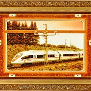 Картина янтарная Поезд Сапсан фото