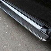Пороги Nissan Terrano 2014-наст.время (с площадкой нерж. сталь 42,4 мм) фото