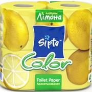 Туалетная бумага Sipto Color цветная, запах лимона фото