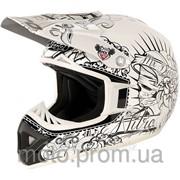 Кроссовый шлем белый с черным винилом Nitro Calavera White/Black фото