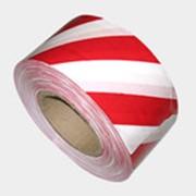 Лента оградительная 75*100 (бело-красная\не клейкая) фото