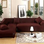 Чехол на угловой диван Homytex цельный эластичный фото