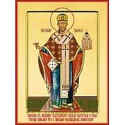 Храм Покрова Богородицы Николай Чудотворец, архиепископ Мирликийский, святитель, икона на сусальном золоте (дерево 2 см с ковчегом) Высота иконы 10 см фото