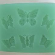"""Мягкая силиконовая форма """"Бабочки"""" 6 шт. фото"""