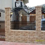 Забор с поликарбонатом и ковкой №14 фото