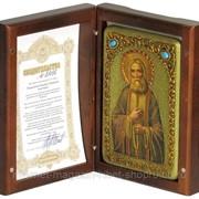 Настольная икона Преподобный Серафим Саровский чудотворец на мореном дубе фото