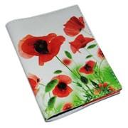 Кожаная женская обложка с цветами -Маки- фото