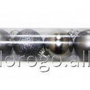 Шары ёлочные пластиковые, цвет серебро TG22440-3, 12 шт/уп фото