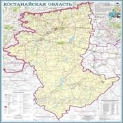 Карта областная Костанайская, масштаб 1:1 000 000, 630*800 мм, не ламинированная фото