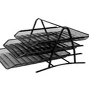 Лоток для бумаг 3-х рядная, металлическая, горизонтальная фото