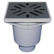 Трап ПП вертикальный Ду 110 с металл. решеткой для внутренней канализации фото